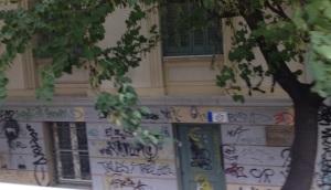 Graffiti strewn walls in Athens near the Acropolis