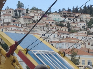 Ferry docking into Poros