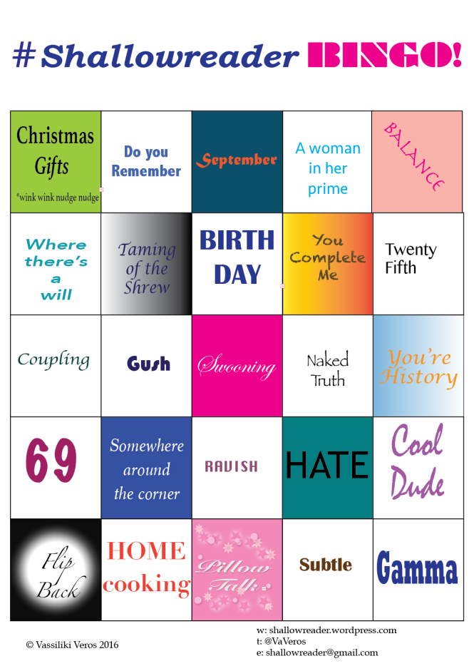 Row 1: Christmas Gifts *wink wink nudge nudge*, Do you remember?, September, A woman in her prime, Balance; Row 2: Where there's a will, Taming of the Shrew, Birth Day, You complete me, Twenty-fifth; Row 3: Coupling, Gush, Swooning, Naked Truth, You're History; Row 4: 69, Somewhere around the corner, Ravish, HATE, Cool Dude; Row 5: Flip Back, Home Cooking, Pillow Talk, Subtle, Gamma