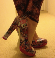 Rudi B's Mills & Boon decoupaged high heeled shoes.