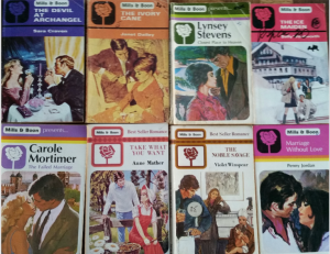 A variety of vintage Mills & Boon covers