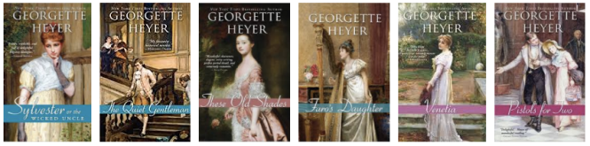 6 Georgette Heyer book covers