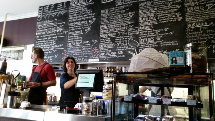 Kiri in her element in her cafe