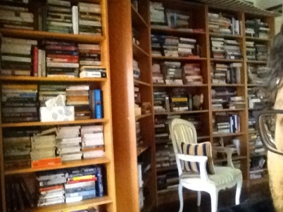 A room full of books with the side of Allyn's face in the corner of the photograph