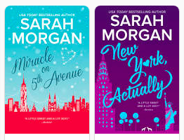 Two book cover in this shot. Both have pastel colours with illustrated NY city skylines.