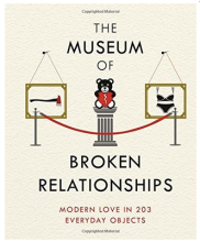 The Museum of Broken Relationships cover is mostly text but there is a simple image of a pretend gallery exhibition