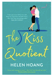 Helen Hoang's The Kiss Quotient cover has a couple kissing and mathematical formulae on it. Very cute.